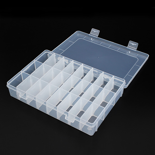 Large Size 24 Compartments Storage Plastic Adjustable Electronics Box