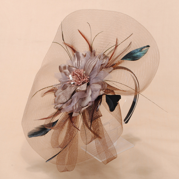 Gauze Feather Flower Headpiece Fashion Fascinator Hair Hoop