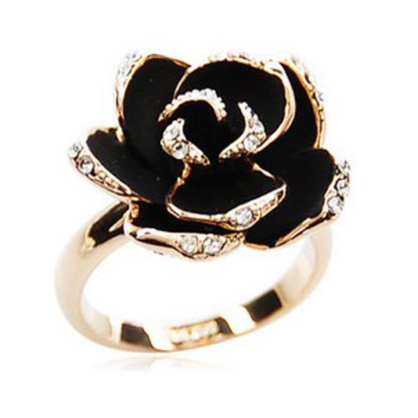 Rose Opening Rings Black Flower Crystal Rhinestone Korea Vintage