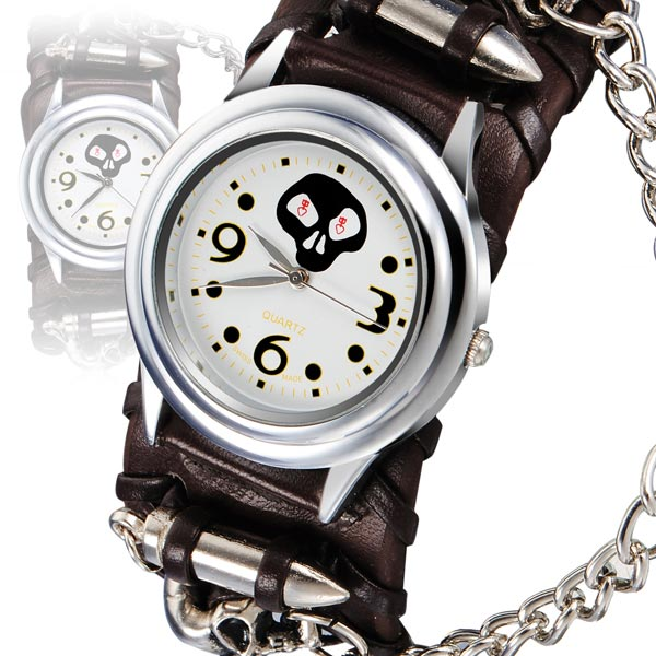 Punk Bullet Skull Chain Leather Analog Bracelet Women Watch