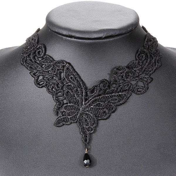 Retro Women Black Butterfly Bead Lolita Lace Choker Necklace Jewelry