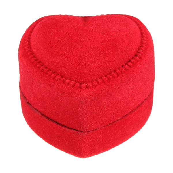 Red Velvet Heart Shaped Ring Ear stud Gift Box Jewelry Case