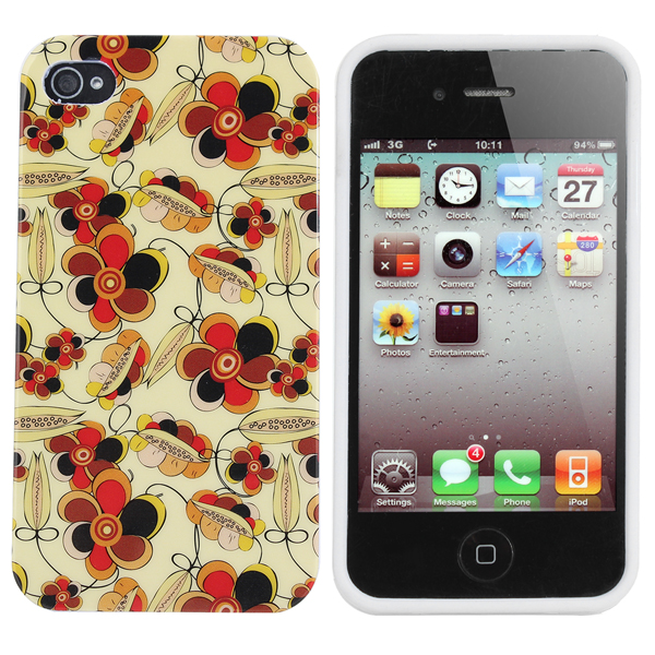 Plum Blossom Pattern TPU Case Cover For iPhone 4 4S 4G