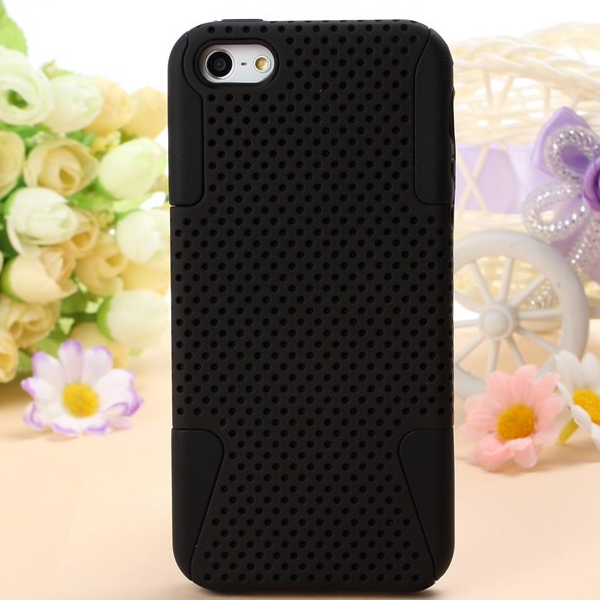2 in 1 Hybrid Mesh Design Hard Back Case Cover For iPhone 5 5S