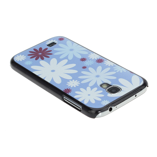 Light Blue Background Flower Patten Relief Case for Samsung S4