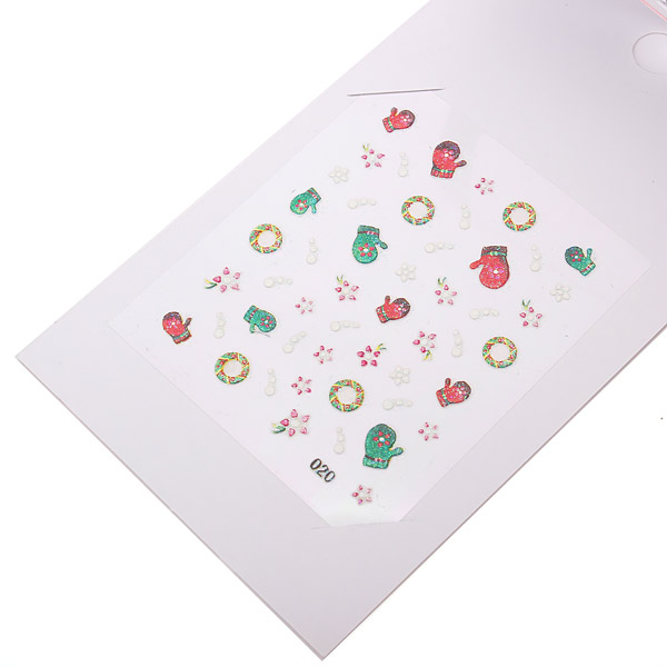 5pcs Xmas Christmas 3D Nail Art Stickers Foil Tips Decals Wrap Gift