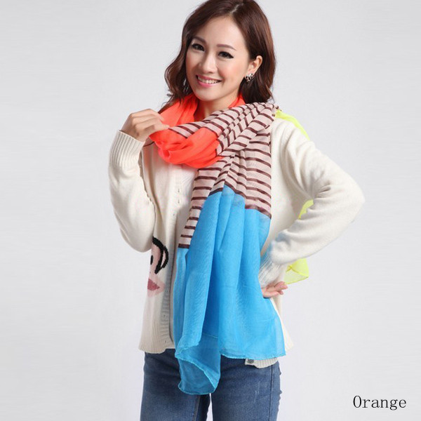 Colorful Woman Striped Voile Multi-function Shawls Scarf