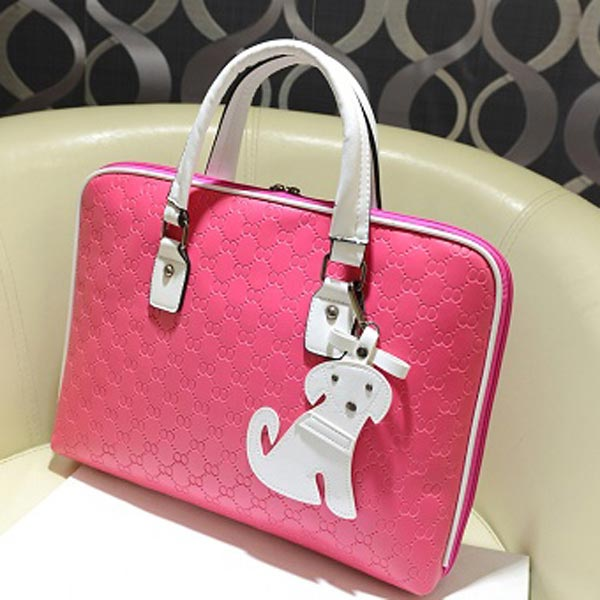 Women Candy Color Dog Pendant Plaid Double Zipper Handbag
