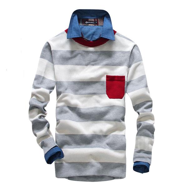 Mens Big Stripe Splicing Pocket O-neck Sweater