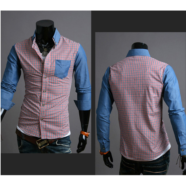 Mens Slim Fit Cotton Color Plaid Fashion Long-sleeved Shirt