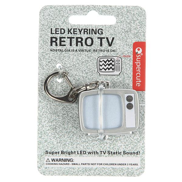 Retro Bright LED TV with Static Sound Keyring Keychain Key Chain