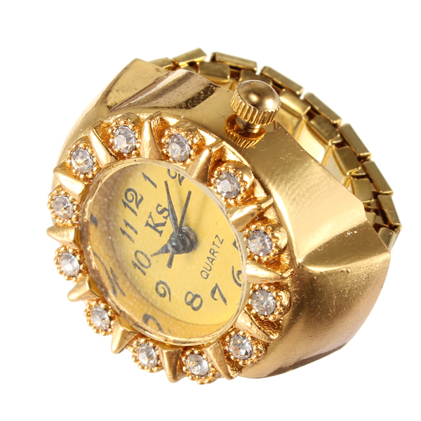 Fashion Ladies Gold Color Crystal Round Dial Finger Ring Watch