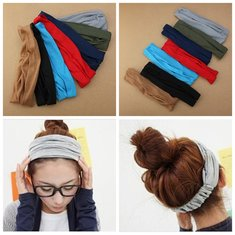 7 Colors Girls Hairband Hairdressing Belt Wrap Head Scarf Headband