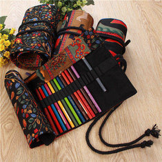 Canvas Tree Roll Wrap Pencil Bag Drawing Brush Holder Colored Sketching Case