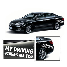 Car Warning Sign My Driving Scares Me Too Safety Sign Car Decal Van Sticker