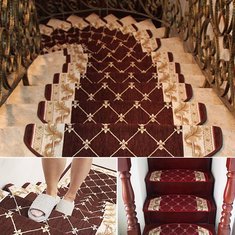 European Style Pastoral Carpet Stair Tread Anti-skid Step Rugs Stair Mats