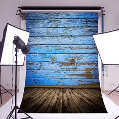 5x7ft 2.1x1.5cm Silk Blue Wood Floor Photography Backdrop Background Studio Photo Props