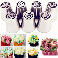Honana 7PCS Stainless Steel Russian Tulip Icing Piping Nozzle with Adaptor Converter Pastry Decorate