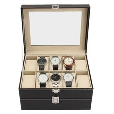 Fashion 20 Slot Wrist Watches Box Black PU Leather Display Watches Case