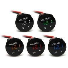 12V-24V Motorcycle Car LED Digital Voltmeter Waterproof Volt Panel Meter Gauge Black