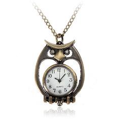Vintage Bronze Owl Bag Turtle Gun Pattern Necklace Pocket Watch