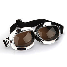 Motorcycle Helmet Scooter Goggle silver frame dark brown lens