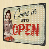 Open Tin Sign Retro Vintage Metal Plaque Pub Bar Store Wall Decor