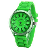 WOMAGE Casual Women Jelly Candy Color Silicon Quartz Watch