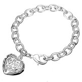 925 Silver Plated Hollow Heart Bracelet Thick Metal Chain Bracelet
