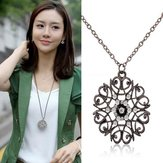 Silver Black Crystal Hollow Flower Pendant Long Chain Sweater Necklace