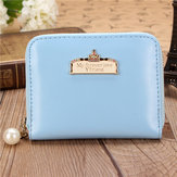 Women Candy Color Crown Pearl Design Short Wallet Girls Cute Zipper Sweet Purse Card Holder Coin Bag