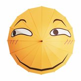 Creative Folding Umbrella Funny Expression Emoji Face Long Umbrella Sunny Rainy Rain Gear