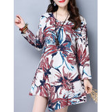 Original  Vintage Women Long Sleeve Irregular Hem Floral Printed Mini Dresses