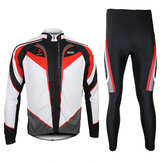 ARSUXEO Mens Cycling Jersey Long Sleeves Set Mountain Bike Riding Clothes With Tights Pants