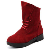 Large Size Lace Up Round Toe Pure Color Ankle Boots