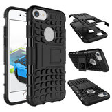 Heavy Duty Armor Tire Pattern Stand Case TPU+PC Dual Protection Rugged Case Cover For iPhone 7