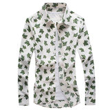Mens Green Leaf Printing Shirts Slim Fit Casual Turndown Collar Long Sleeve Shirts