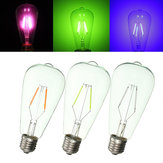 E27 ST64 2W Vintage Edison Light Bulb LED COB Filament Colorful Lamp 220V