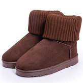 Winter Ladies Keep Warm Snow Boots Knit Cotton Boots Short Ankle Flat Snow Boots