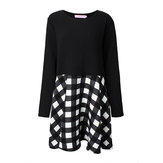 Plus Size Casual Long Sleeve Puff Plaid Patchwork Dress