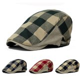 Unisex Men Women Canvas Newsboy Beret Cap Grid Blank Thick Flat Cowboy Cabbie Hat