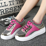 Women Mesh Pu Color Match Breathable Lace Up Flat Casual Sport Outdoor Shoes