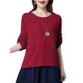 Vintage Solid Long Sleeve O-Neck Loose Cotton Women Blouse