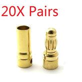 20X Pairs 4mm Gold Bullet Connector Banana Plug For ESC Battery Motor
