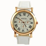 Wecin 9003 PU Leather Roman Number Band Analog Quartz Couples Watch