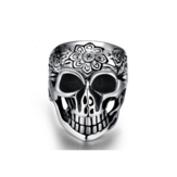 316L Stainless Stell Silver Men Women Skull Ring Punk Rock