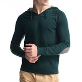 Casual Hooded Knitted Sweatshirt Pure Color Men Pullover Sweater Sport Tops