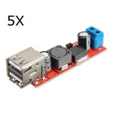 5Pcs Dual USB 9V/12V/24V/36V to 5V Converter DC-DC 3A Step Down Power Module