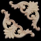 8x8cm Unpainted Wood Carved Corner Applique for Furniture Home Decoration