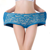 Women Lace Embroidery Mid Rise Soft Breathable Fiber Briefs Underwear Panties
